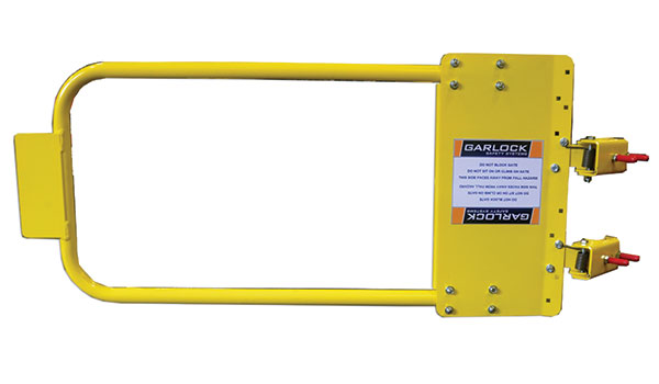 Gate showing yellow powder coat finish option for hatch protector