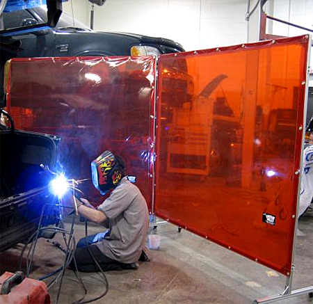 Weld screen enclosure to protect other workers from exposure to eye damaging welding arc