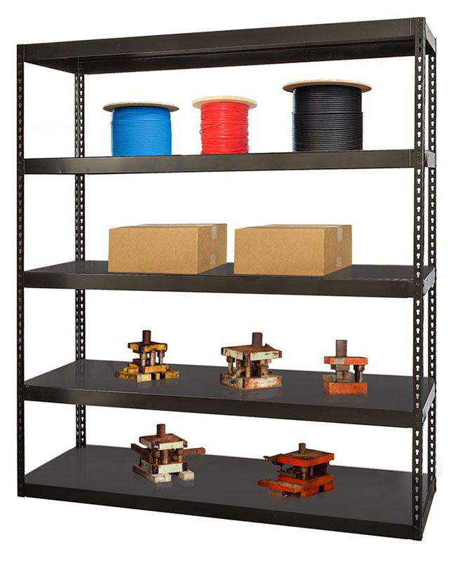 Waterfall rivet shelving with stored items.