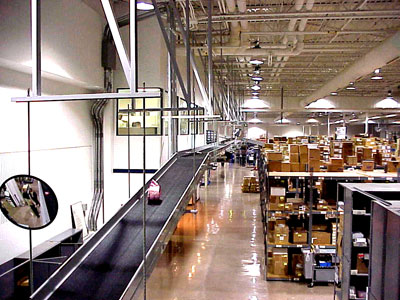 Incline conveyor in a distribution center application.