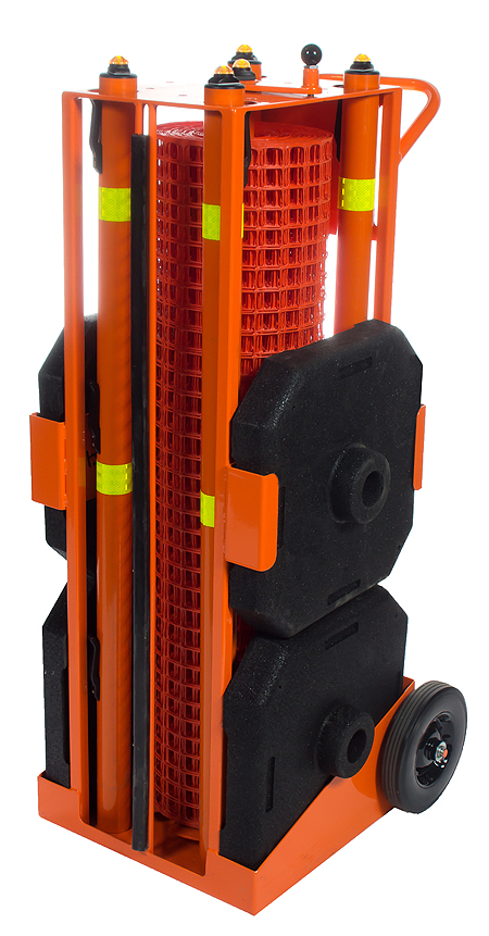 Portable safety zone system on transport/storage cart
