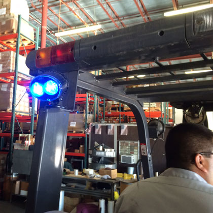 forklift safety light mounted on carriage