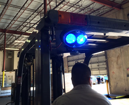 rear-mounted warning light on a forklift