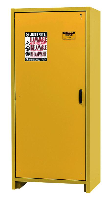 Single door cabinet in closed position