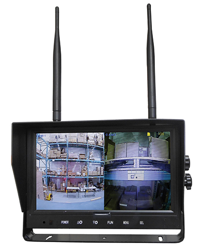 LCD monitor showing two cameras