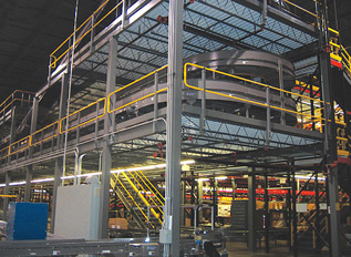 Mezzanine used to support conveyor