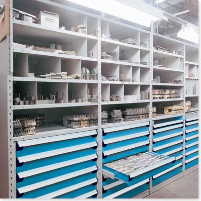 steel shelving with modular drawers