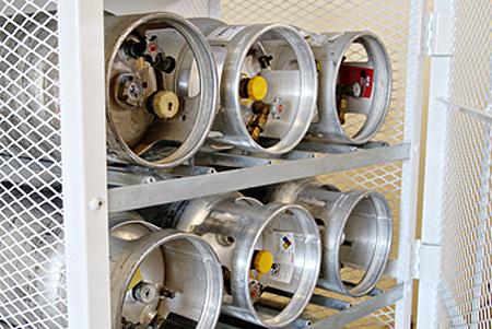 Inside of gas cylinder cage