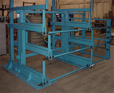 Crank-Out Cantilever Rack with extra upright