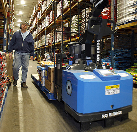 robotic forklift in industrial distribution facility