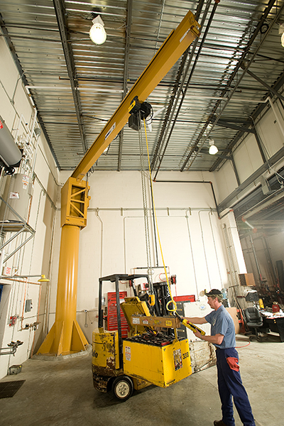 Jib crane used in forklift maintenance