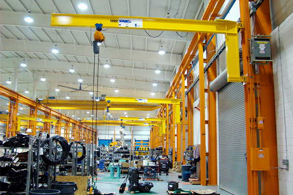 Wall mounted jib cranes are an economical option for lifting and moving loads. They don't take up any valuable floor space but do require adequate vertical member support.