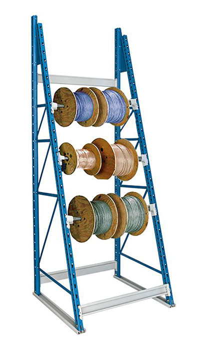 Spool storage rack in use with spools of cable