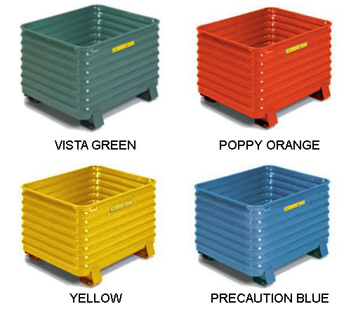 color options for Steel King corrugated bulk containers