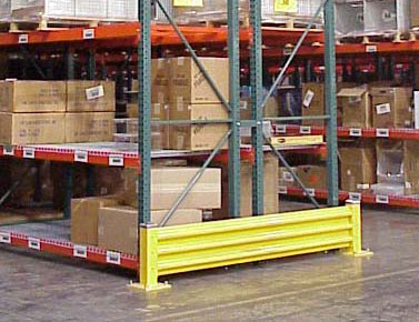 steel guard rail to guard ens of rack rows