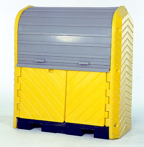 Lockable front doors and roll-top make drum storage very secure