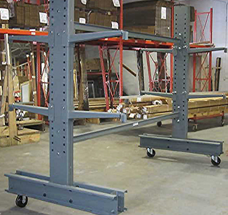 Cantilever rack mounted on casters