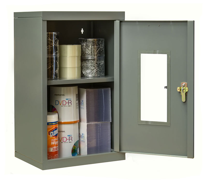 Open gray wall cabinet