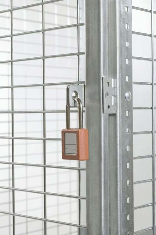 bulk wire locker door with padlock hasp and pry bar