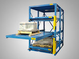 Crank-out storage racks easily load and unload heavy products