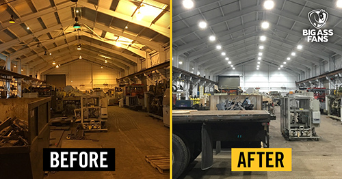 two photos of warehouse with dim yellow lighting and bright updated lighting