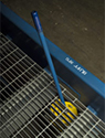 hydraulic pump handle and grating on steel yard ramp