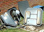 Air conditioning unit torn apart