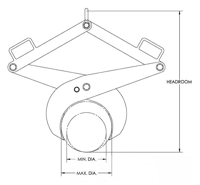 adjustable diameter bar tong drawing