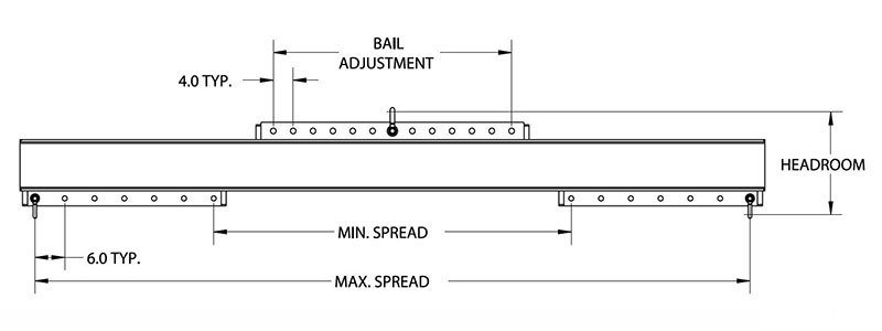 universal lifting spreader beam drawing