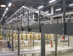 mezzanine and conveyor picking area