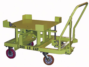 Rotating elevated delivery cart in green with capacity printed on the side