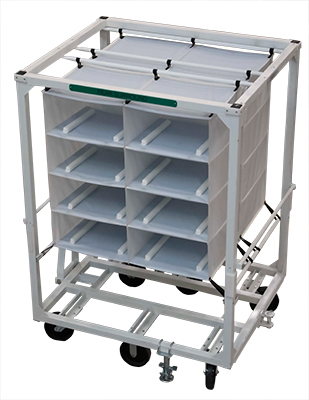 Cart with Soft Shelving for Assembly Line