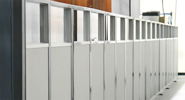 temporary modular wall system built in sequence