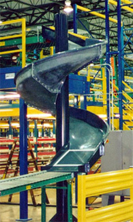 spiral chute in a 3PL warehouse returns center