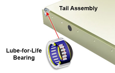 low profile conveyor tail tail assembly
