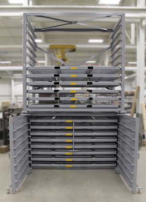 Combination Rolling and Stacking Sheet Rack
