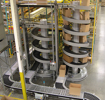 High capacity spiral conveyor integrated with conveying system