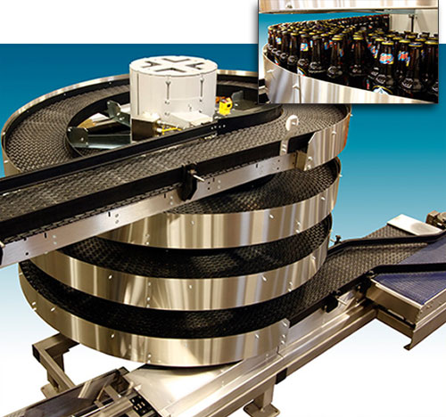 Beer conveying spiral conveyor