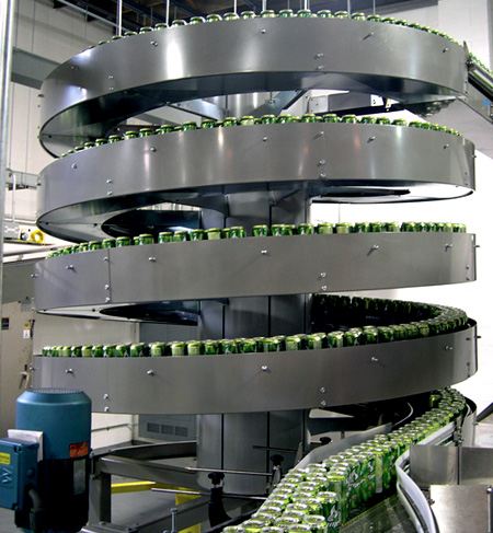 Conveying cans in a bottler operation
