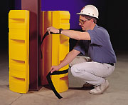 Easily installed column protectors help cushion building uprights