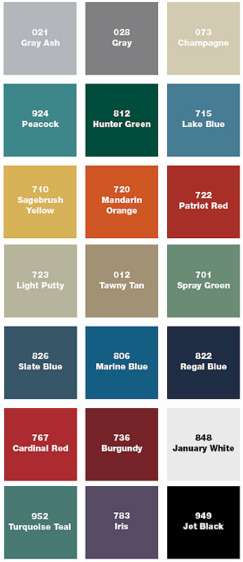 Penco Products color chart