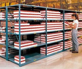 industrial shelving with box storage