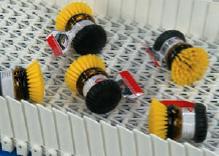 Irregular shaped load on plastic belt conveyor
