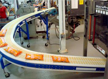 Plastic chain conveyor curve