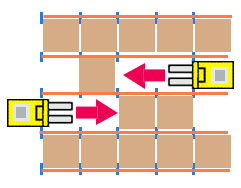diagram of a drive-through pallet rack system with dual entry and exit points