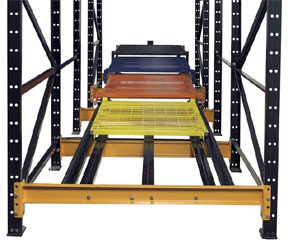 push back pallet rack cart system