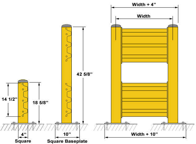 Steel Guard Rail Dimensions