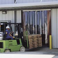 vinyl strip door with forklift