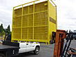 temporary fencing loaded onto transport vehicle
