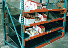 Tilt shelf in pallet rack